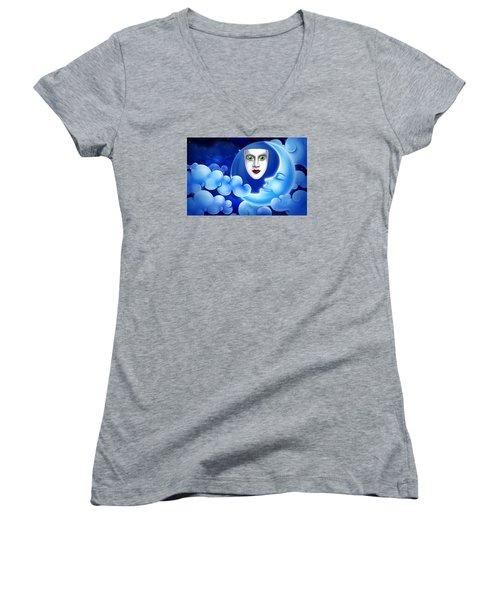 Mardi Gras At Night Women's V-Neck T-Shirt (Junior Cut) by Gary Crockett
