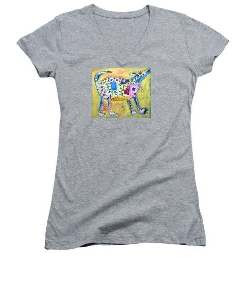 Mardi Gras Women's V-Neck T-Shirt (Junior Cut) by Lynda Cookson