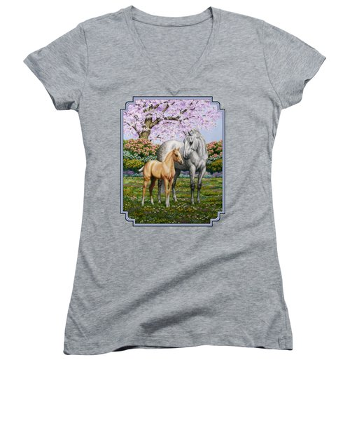 Mare And Foal Pillow Blue Women's V-Neck T-Shirt (Junior Cut) by Crista Forest