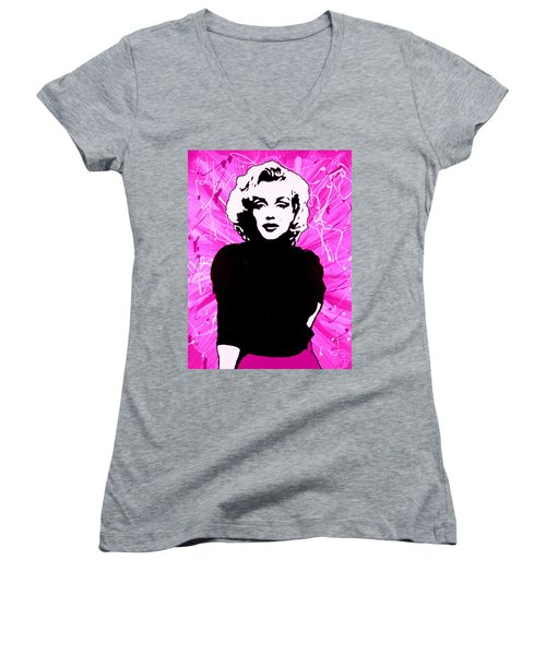 Women's V-Neck T-Shirt (Junior Cut) featuring the painting Marilyn Monroe In Hot Pink by Bob Baker