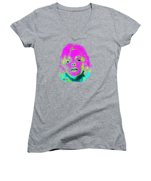 Marilyn Monroe In Psychedelic Color Women's V-Neck T-Shirt (Junior Cut) by Kim Gauge