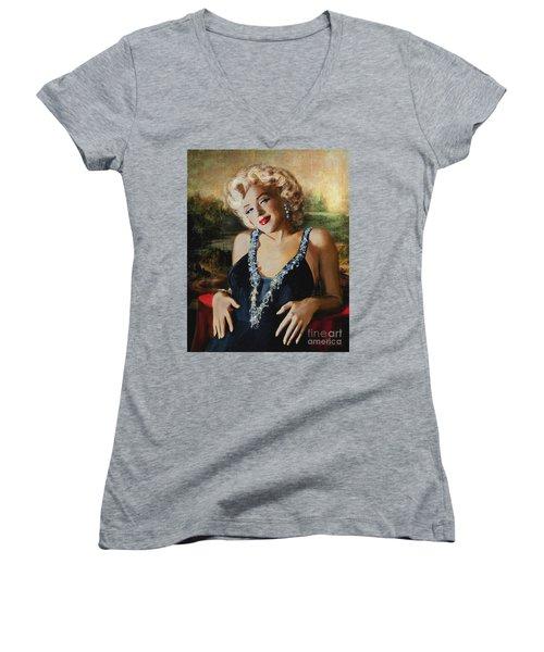Marilyn Monroe  Mona Lisa  Women's V-Neck
