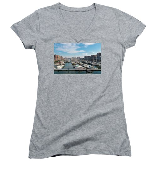 Women's V-Neck T-Shirt (Junior Cut) featuring the photograph Marina In The Netherlands by Hans Engbers