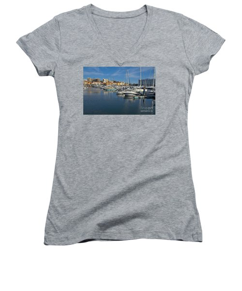 Marina Of Vilamoura At Afternoon Women's V-Neck T-Shirt (Junior Cut) by Angelo DeVal