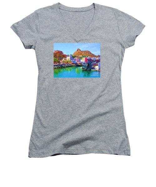 Marina Towards Pedregal II Women's V-Neck T-Shirt (Junior Cut)