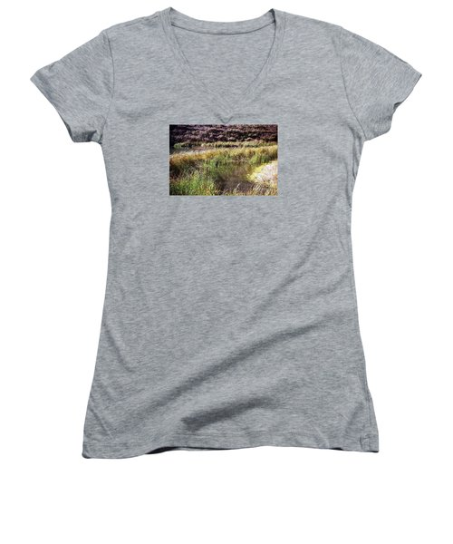 Marine Headlands Pond And Flowers Women's V-Neck T-Shirt