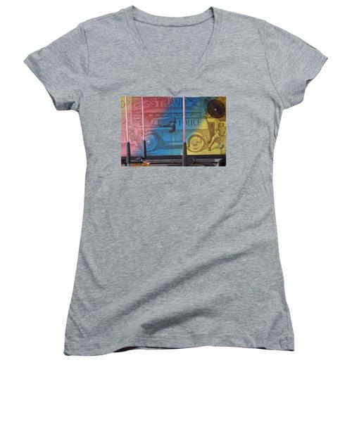 Women's V-Neck T-Shirt (Junior Cut) featuring the photograph Mariner's Landing by Greg Graham