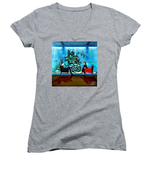 Marinelife Observing Couple Sitting In Chairs Women's V-Neck (Athletic Fit)