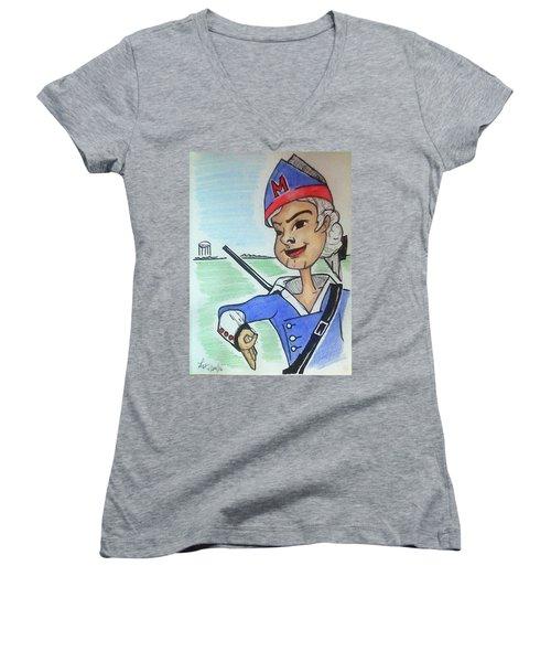 Marion Jr Women's V-Neck T-Shirt (Junior Cut) by Loretta Nash