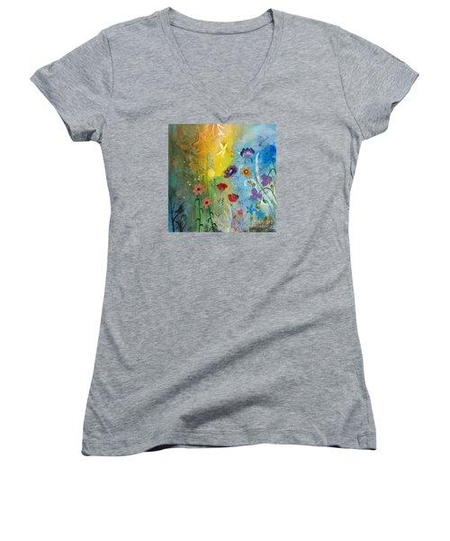Mariposa Women's V-Neck T-Shirt (Junior Cut) by Robin Maria Pedrero