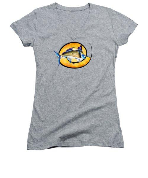 Marlinissos V1 - Violinfish Without Back Women's V-Neck T-Shirt (Junior Cut)