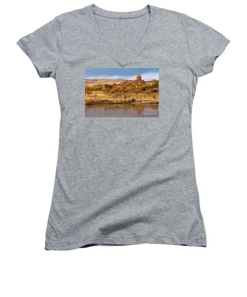 Marmashen Monastery Reflected On Lake At Autumn, Armenia Women's V-Neck T-Shirt (Junior Cut) by Gurgen Bakhshetsyan