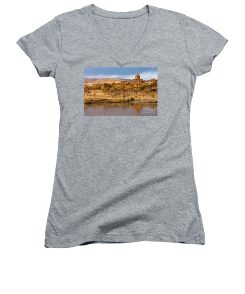 Marmashen Monastery Reflected On Lake At Autumn, Armenia Women's V-Neck T-Shirt