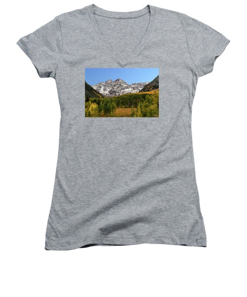 Women's V-Neck T-Shirt (Junior Cut) featuring the photograph Maroon Bells by Dana Sohr
