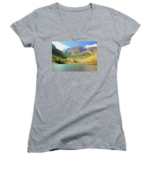 Women's V-Neck T-Shirt (Junior Cut) featuring the photograph The Maroon Bells Reimagined 2 by Eric Glaser
