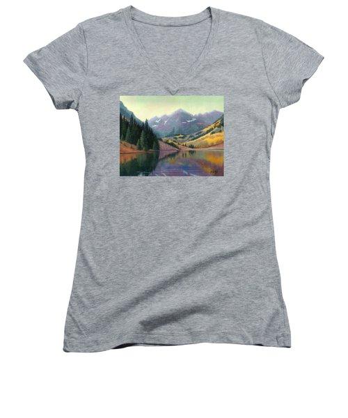 Maroon Bells In October Women's V-Neck T-Shirt (Junior Cut) by Janet King