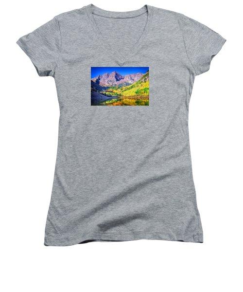 Maroon Bells Women's V-Neck T-Shirt
