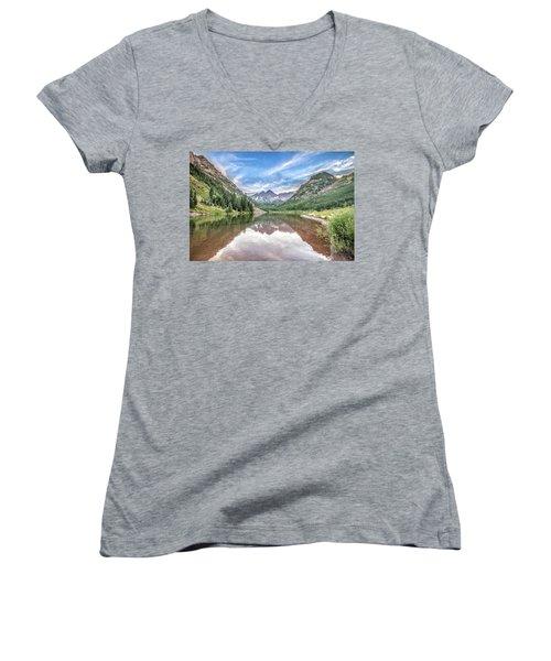 Maroon Bells Near Aspen, Colorado Women's V-Neck T-Shirt (Junior Cut) by Peter Ciro