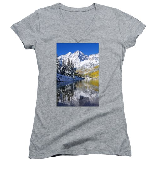 Maroon Lake And Bells 2 Women's V-Neck T-Shirt