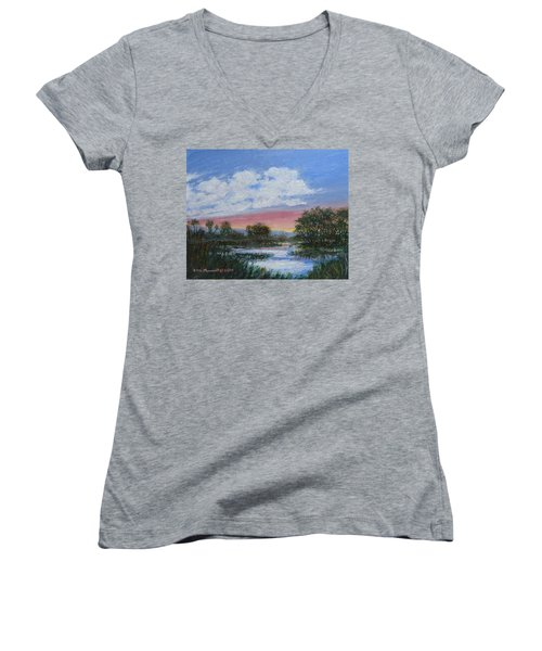 Marsh Reflections Women's V-Neck T-Shirt (Junior Cut) by Kathleen McDermott
