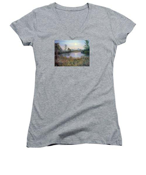 Marsh Wetland Moon Landscape Painting Women's V-Neck