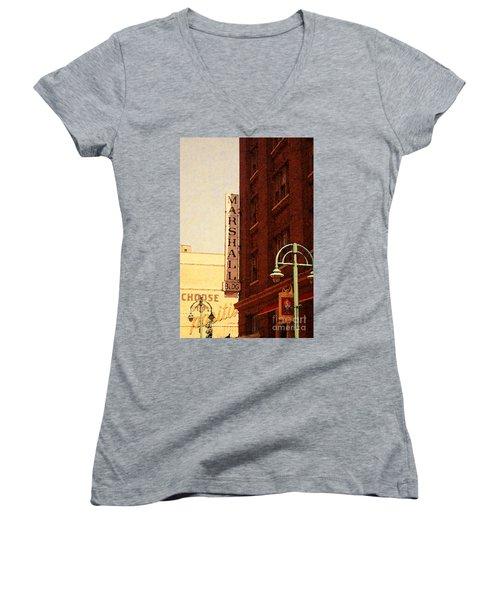 Marshall Bldg Women's V-Neck T-Shirt (Junior Cut) by David Blank