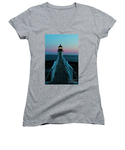 Marshall Point Lighthouse At Sunset Women's V-Neck (Athletic Fit)