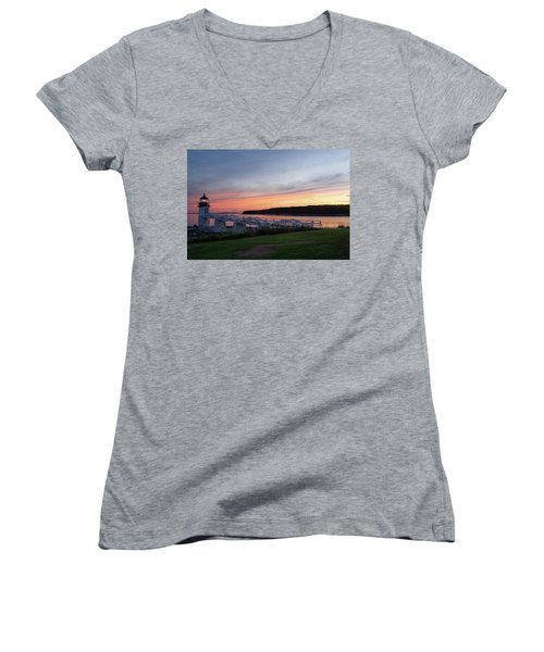 Women's V-Neck T-Shirt (Junior Cut) featuring the photograph Marshall Point Lighthouse, Port Clyde, Maine -87444 by John Bald