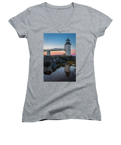 Marshall Point Reflection At Sunrise Women's V-Neck (Athletic Fit)