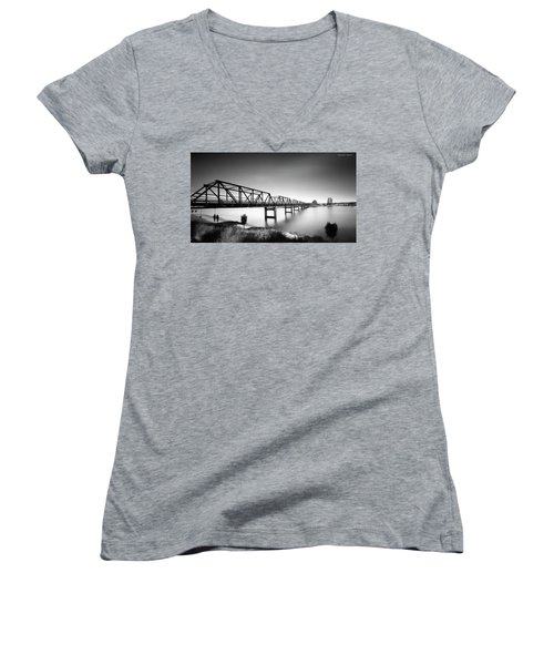 Martin Bridge 6666 Women's V-Neck T-Shirt (Junior Cut) by Kevin Chippindall