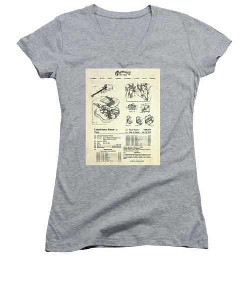 Martin Guitar Patent Art Women's V-Neck T-Shirt (Junior Cut) by Gary Bodnar