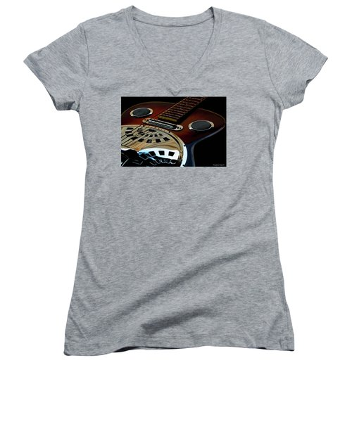 Martinez Guitar 002 Women's V-Neck T-Shirt (Junior Cut) by Kevin Chippindall