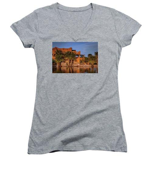 Martinez Lake Women's V-Neck T-Shirt (Junior Cut) by Martina Thompson