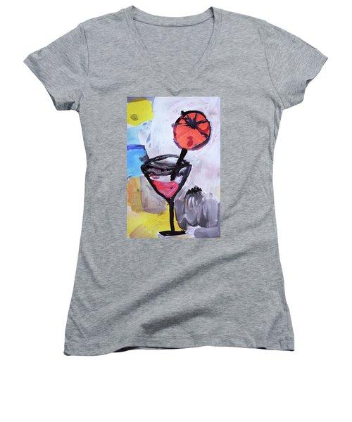 Martini And Orange Women's V-Neck T-Shirt (Junior Cut) by Amara Dacer
