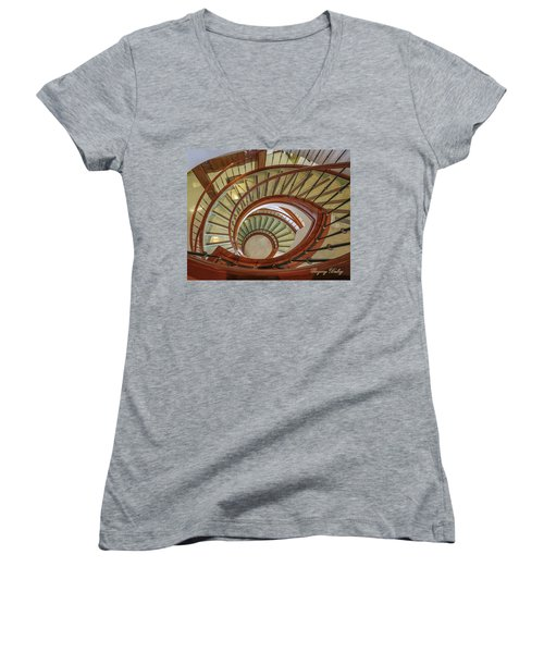Marttin Hall Spiral Stairway Women's V-Neck T-Shirt