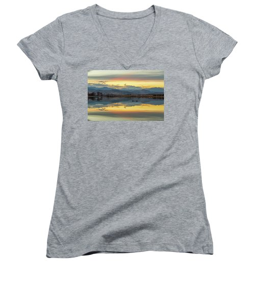 Women's V-Neck T-Shirt (Junior Cut) featuring the photograph Marvelous Mccall Lake Reflections by James BO Insogna