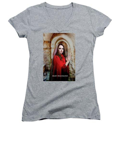Mary Magdalene Women's V-Neck T-Shirt (Junior Cut) by David Clanton