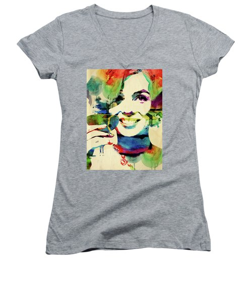 Marilyn And Her Drink Women's V-Neck T-Shirt (Junior Cut) by Mihaela Pater