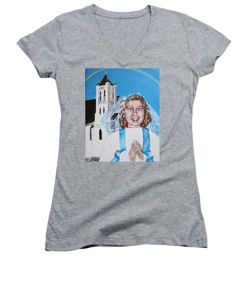 Mary's First Communion Women's V-Neck (Athletic Fit)