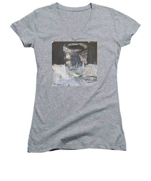 Women's V-Neck T-Shirt (Junior Cut) featuring the painting Mason Jar  by Robert Joyner
