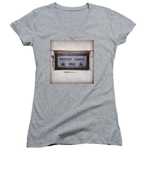 Masonic Temple Women's V-Neck T-Shirt