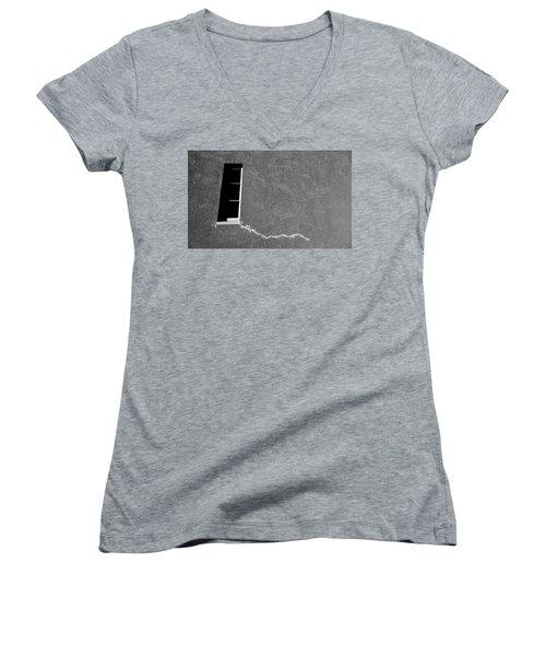 Women's V-Neck T-Shirt (Junior Cut) featuring the photograph Masonic Window by CML Brown