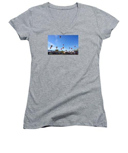 Women's V-Neck T-Shirt (Junior Cut) featuring the photograph Mass Ascension Taos Balloon Festival by Brenda Pressnall