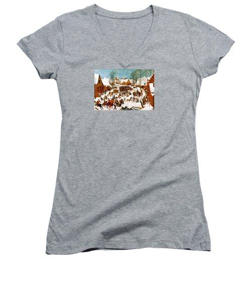 Massacre Of The Innocents Women's V-Neck T-Shirt (Junior Cut) by Pieter Bruegel the Elder