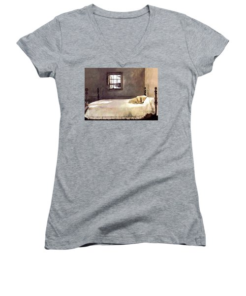 Women's V-Neck T-Shirt (Junior Cut) featuring the painting Master Bedroom  by Andrew Wyeth