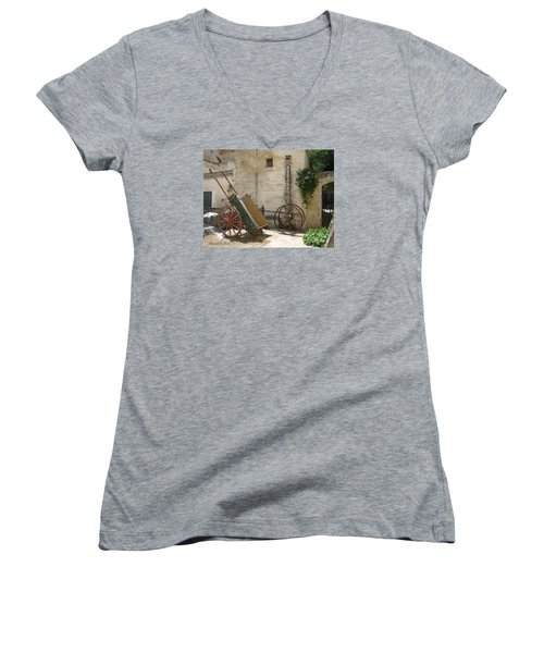 Matera Old Horsecart Italy Women's V-Neck (Athletic Fit)