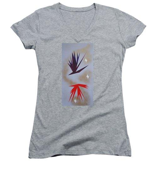 Mating Ritual Women's V-Neck T-Shirt (Junior Cut) by J R Seymour