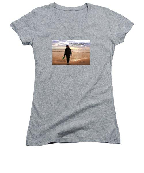 Women's V-Neck T-Shirt (Junior Cut) featuring the photograph Matthew Eighteen Three by Aaron Berg