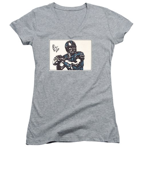 Matthew Stafford Women's V-Neck T-Shirt (Junior Cut) by Jeremiah Colley
