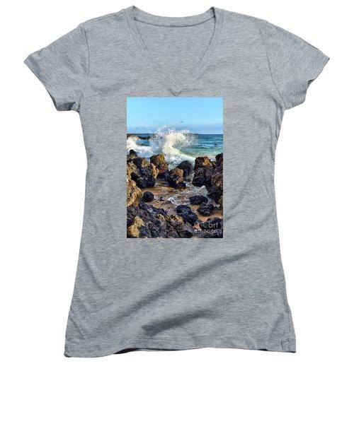 Maui Wave Crash Women's V-Neck T-Shirt
